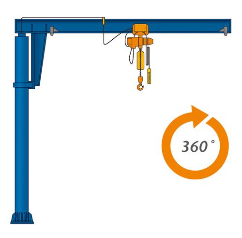 pillar mounted free standing jib cranes